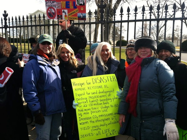 Maryanne with five amazing activists whom she met on the WESPAC bus from Westchester, NY.