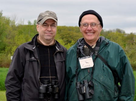 Incoming President Paul Richardson (on left) with retiring President Gene Huggins at the 2013 Bird Festival at Derby Hill Bird Observatory.